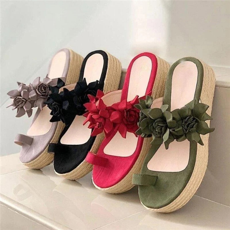 2020 New Women's Flip Thong Flowers Slides Platform Summer Beach Sandals