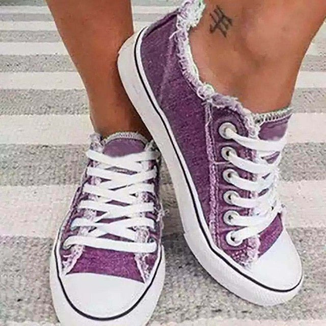 2020 New Women's Fashion Lace Up Denim Flats Casual Shoes