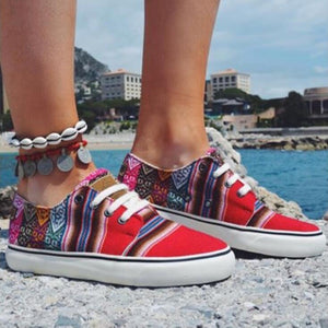 2020 New Women's Fashion Lace Up Canvas Flats Casual Shoes