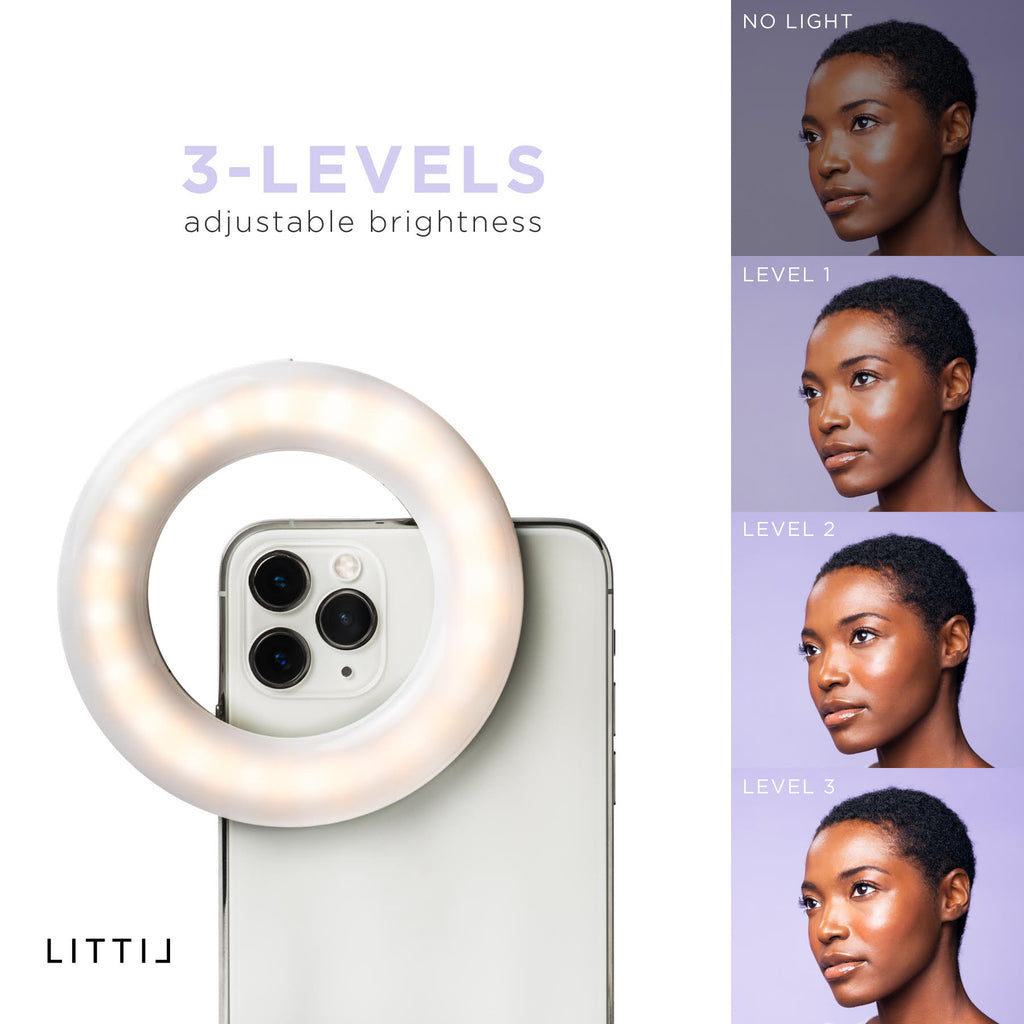 Brightness levels of LITTIL Selfie One Ring Light.