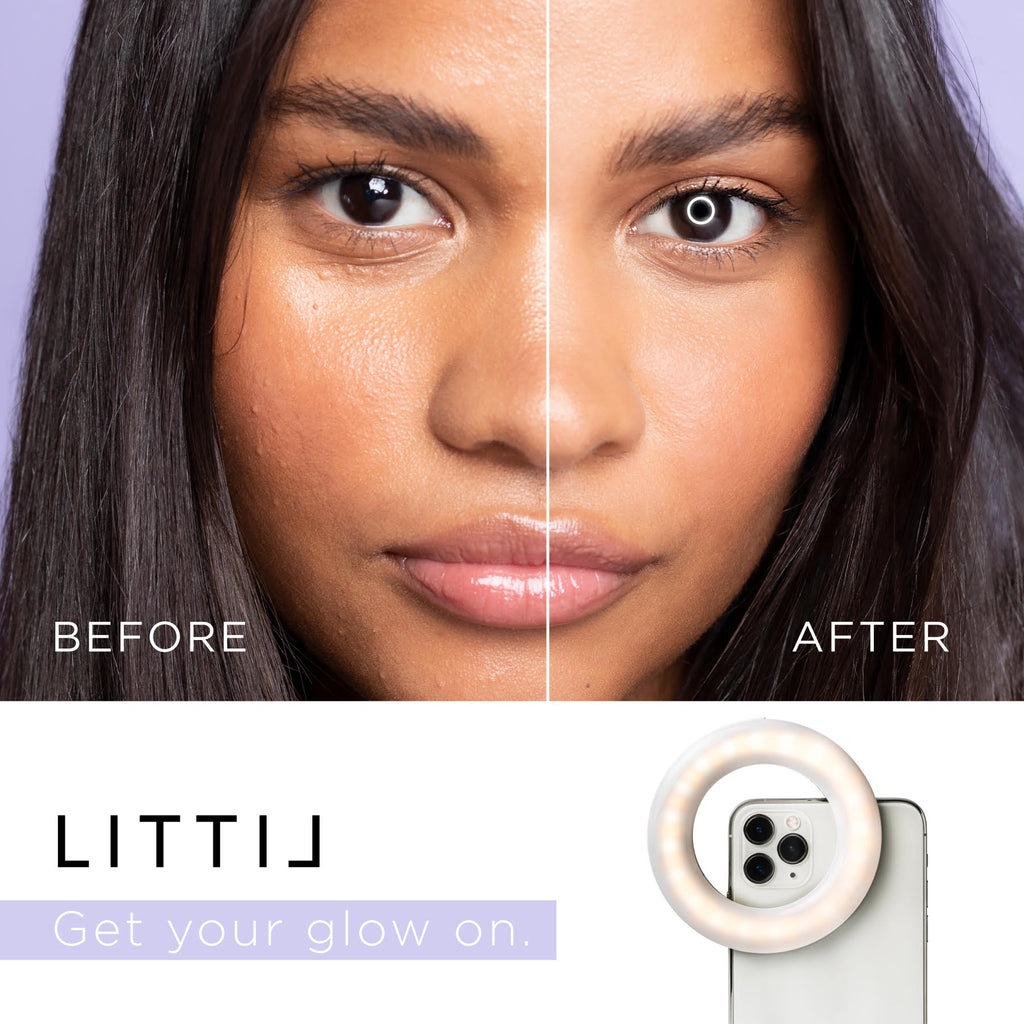 Before and After of LITTIL Selfie One Ring Light.