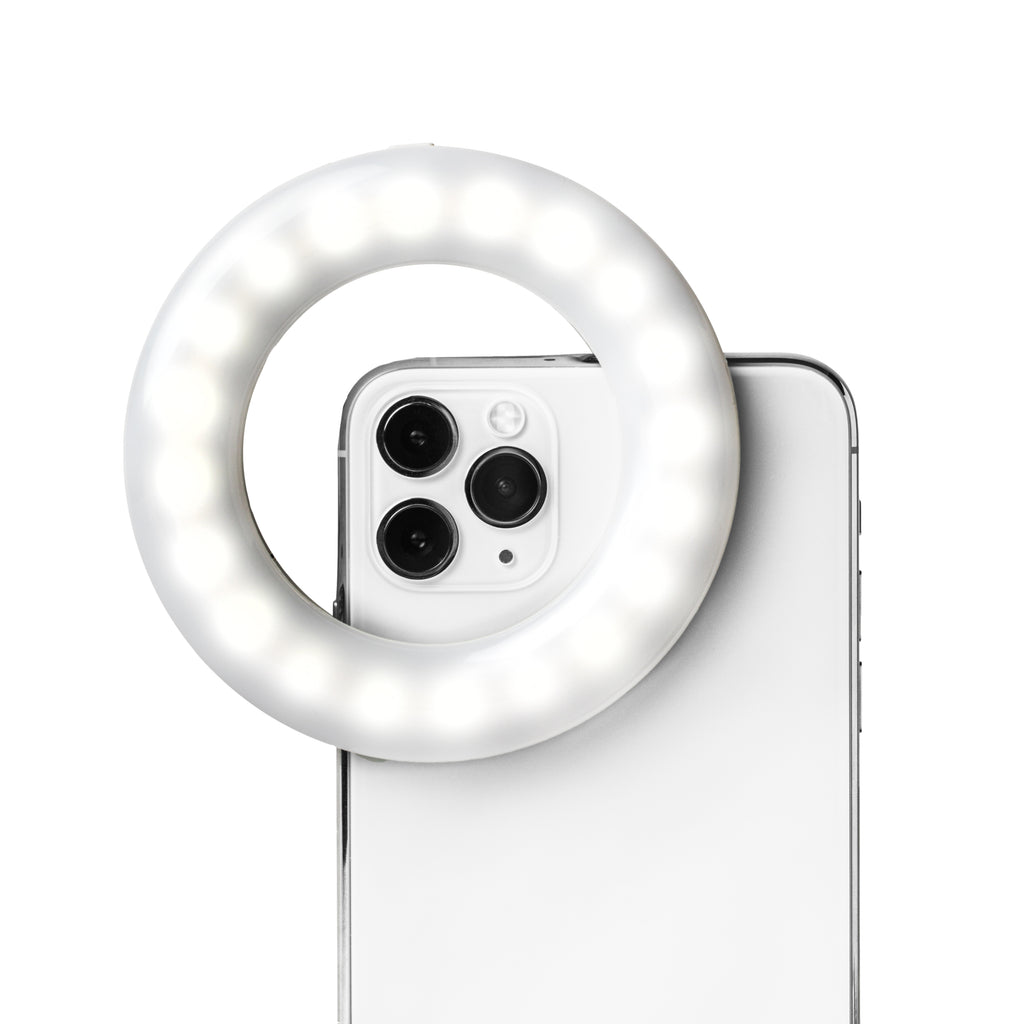 LITTIL Selfie One Ring Light on a iPhone.