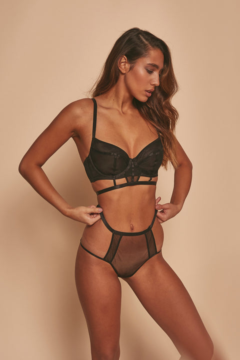 Jade Panelled Cut Out High Waist Brief