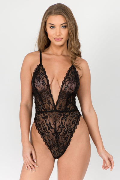 Lace High Hip Deep V Bodysuit