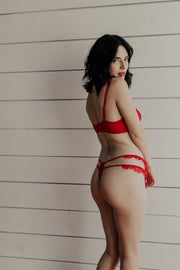 Megan Red Tulle and Lace Thong