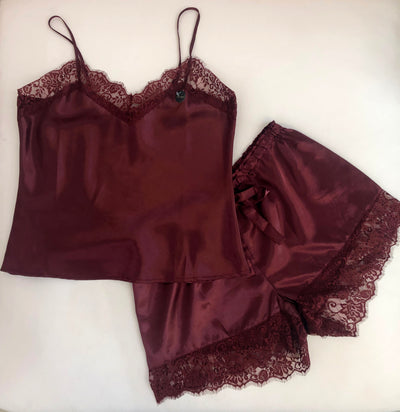 Lace Edge PJ Set Burgundy