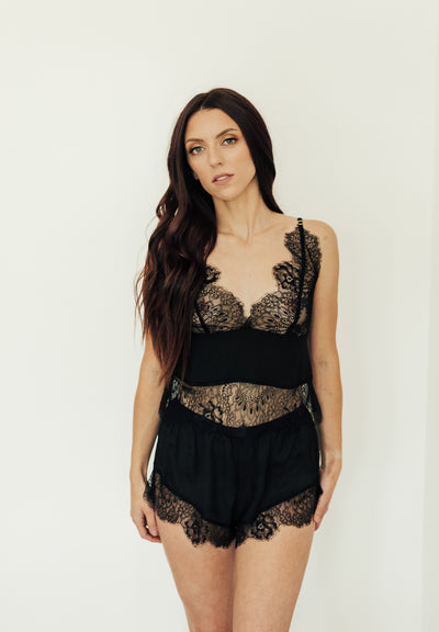 Lace Trim Cami & Short Set