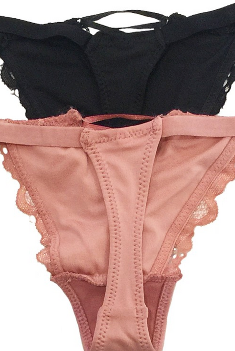 Lace Thong with Strap Detail