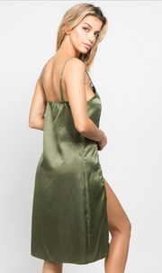 Satin Slip Dress with Thong