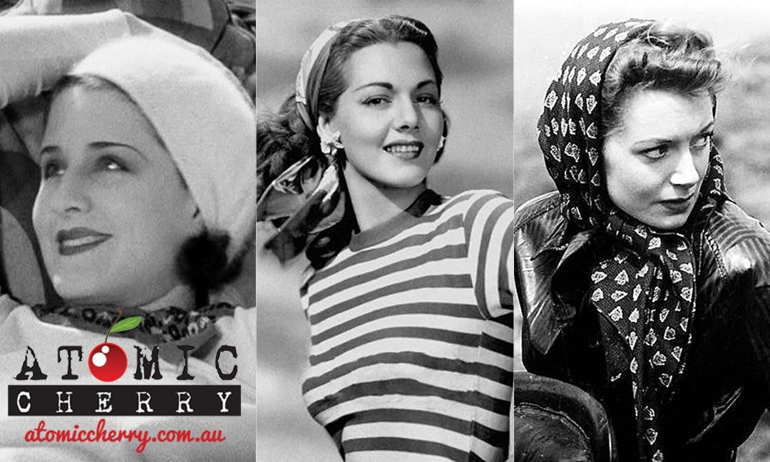 Images of actresses wearing chic hair scarves