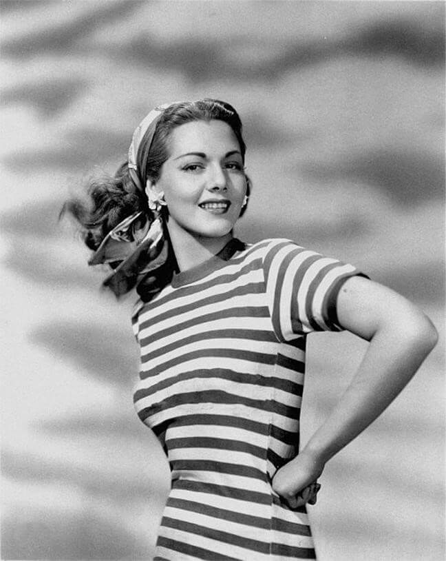 Image of retro lady wearing a scarf with striped t-shirt