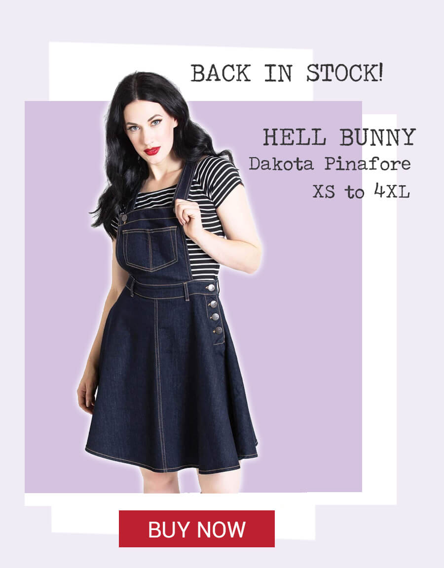 Image of model wearing navy blue Hell Bunny Dakota Denim Pinafore