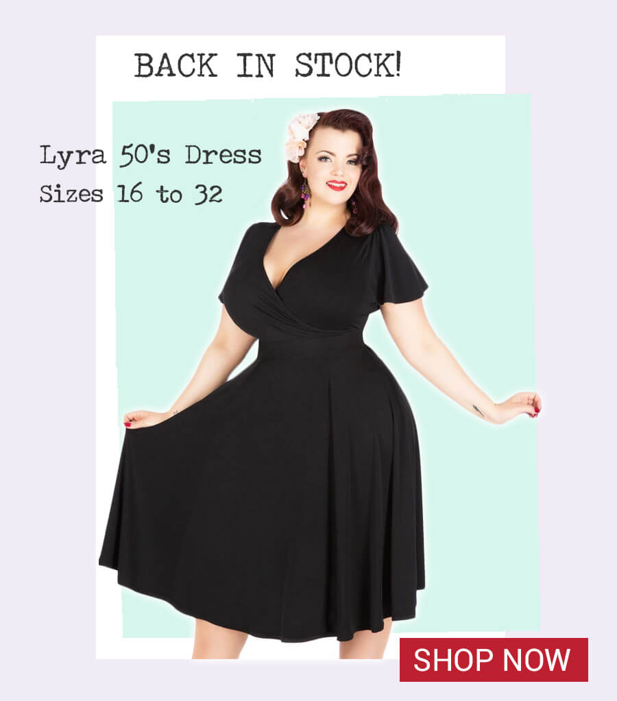Image of model wearing Lyra Plus size 1950s dress