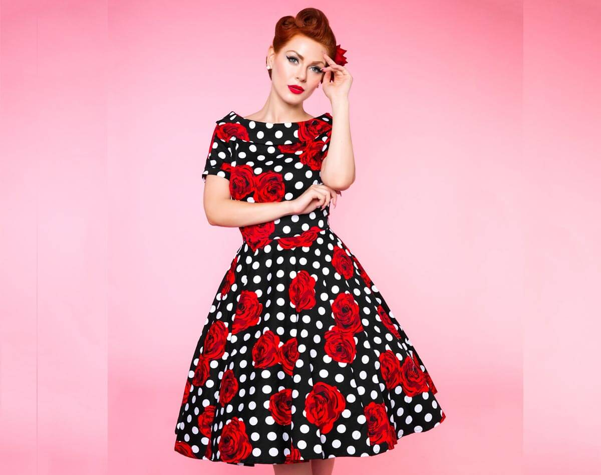 Image of darlene polka dot and roses dress