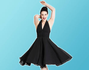 Classic 1952's dresses - image of model in black marilyn monroe dress
