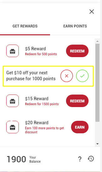 Image of rewards panel redemption confirmation