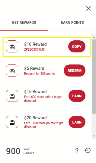 Image of rewards panel - copying discount code