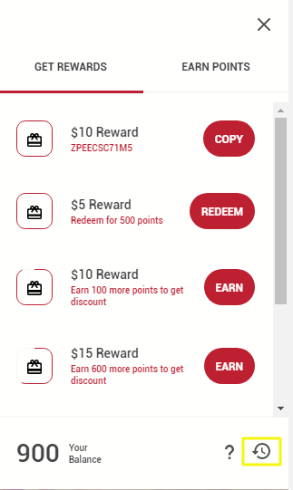 Image of rewards points history icon on panel