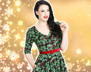 Hell Bunny Holly Berry Christmas Dress