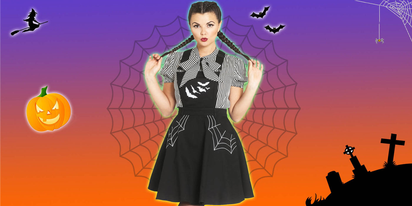 Halloween banner with miss Muffet Pinafore