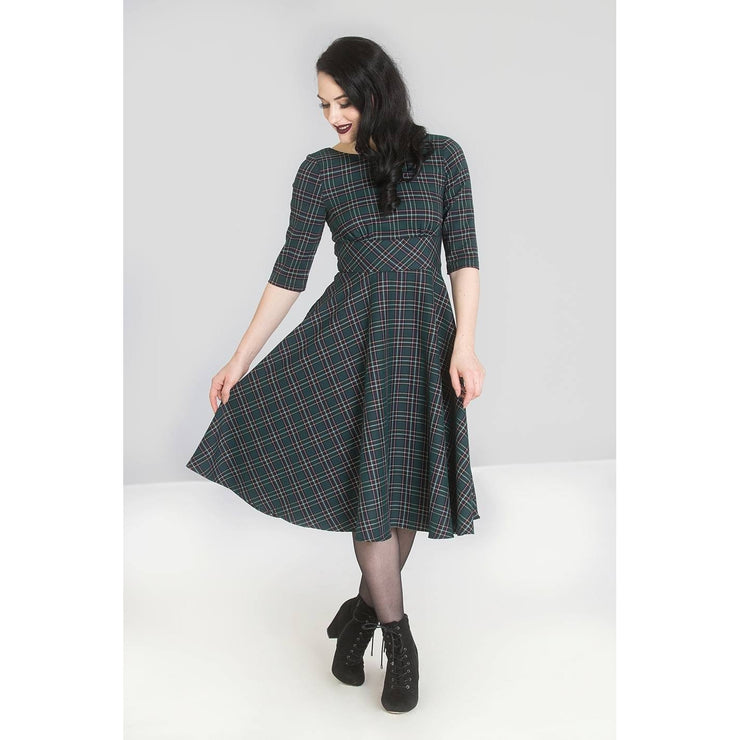 Image of Hell Bunny Peebles Tartan 50's Dress - Green on standard model - front