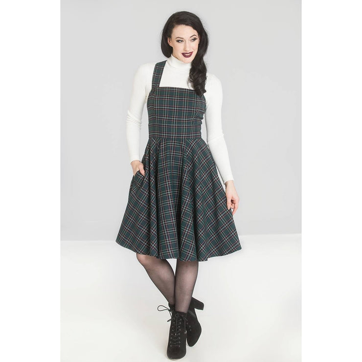 [Special Order] Hell Bunny Peebles Pinafore Dress - Green