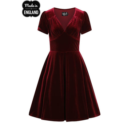 Image of Hell Bunny Joanne Velvet Party Dress on invisible mannequin - front