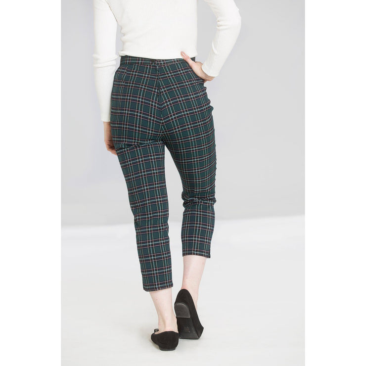 Image of Hell Bunny Peebles Tartan Cigarette Trousers - Green on standard model - back