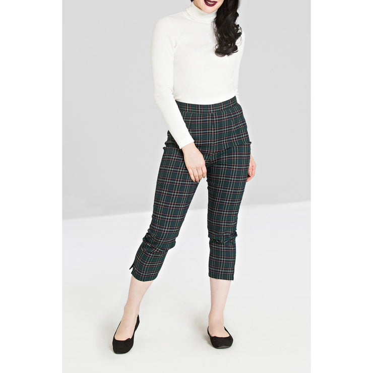 Image of Hell Bunny Peebles Tartan Cigarette Trousers - Green on standard model - cropped