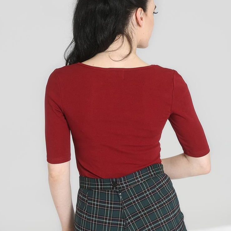 Image of Hell Bunny Philippa Top - Burgundy on standard model - back