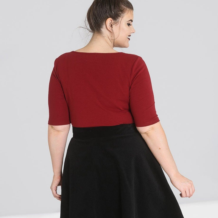 Image of Hell Bunny Philippa Top - Burgundy on plus size model - back