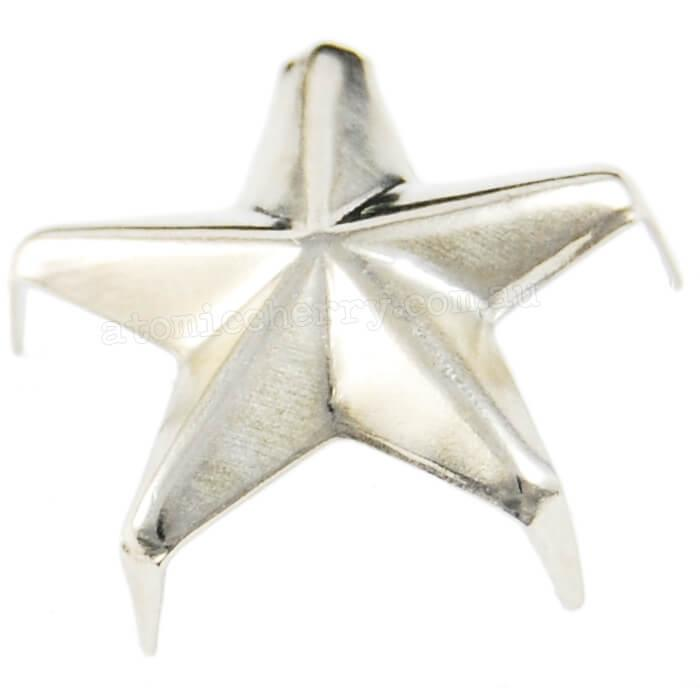Image of 12mm Star Studs - Silver (Pack of 10)