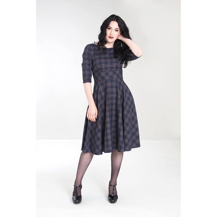 Image of Hell Bunny Peebles Tartan 50's Dress - Navy on standard model - front