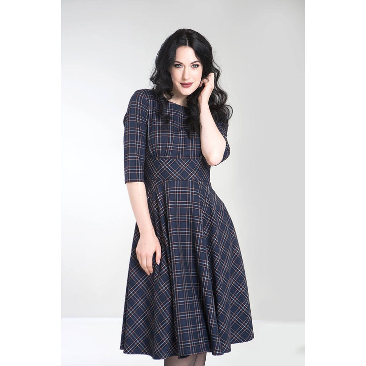 Image of Hell Bunny Peebles Tartan 50's Dress - Navy on standard model - cropped