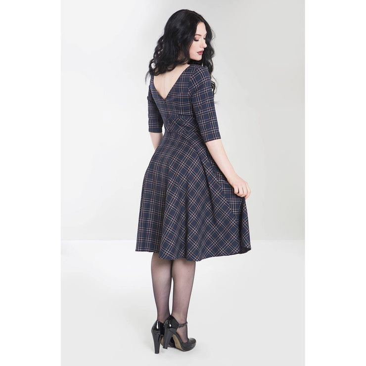 Image of Hell Bunny Peebles Tartan 50's Dress - Navy on standard model - back