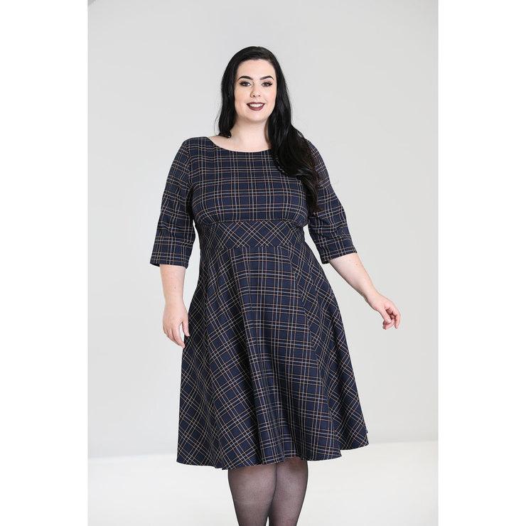 Image of Hell Bunny Peebles Tartan 50's Dress - Navy on plus size model - front