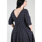 Image of Hell Bunny Peebles Tartan 50's Dress - Navy on plus size model - back