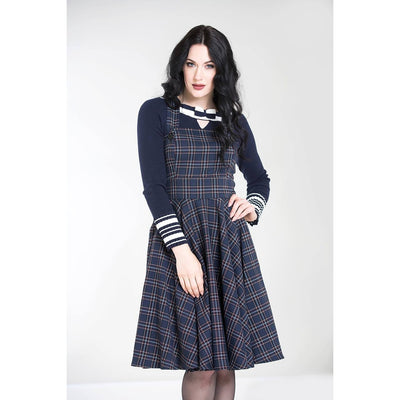 Hell Bunny Peebles Pinafore Dress - Navy - FRONT