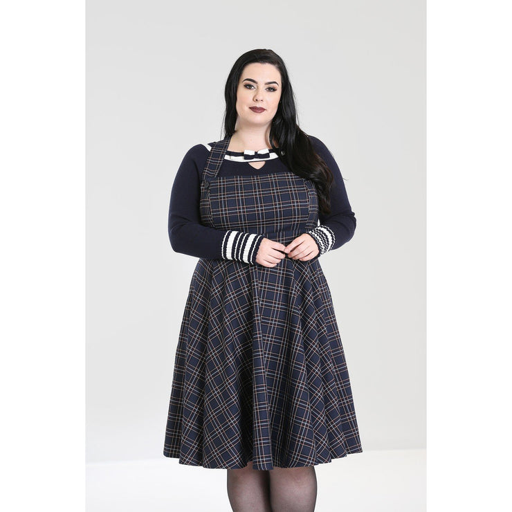 Hell Bunny Peebles Pinafore Dress - Navy plus size