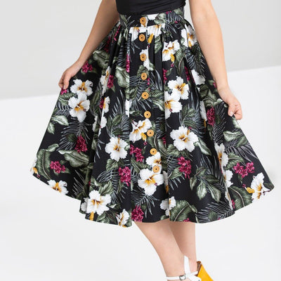 Image of Hell Bunny Tahiti 50's Skirt - Black on standard model - cropped