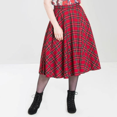 Image of Hell Bunny Irvine Tartan 50's Skirt - Red on standard model - front