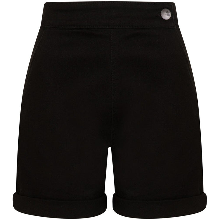 Hell Bunny Yaz Denim Shorts - black on invisible mannequin front