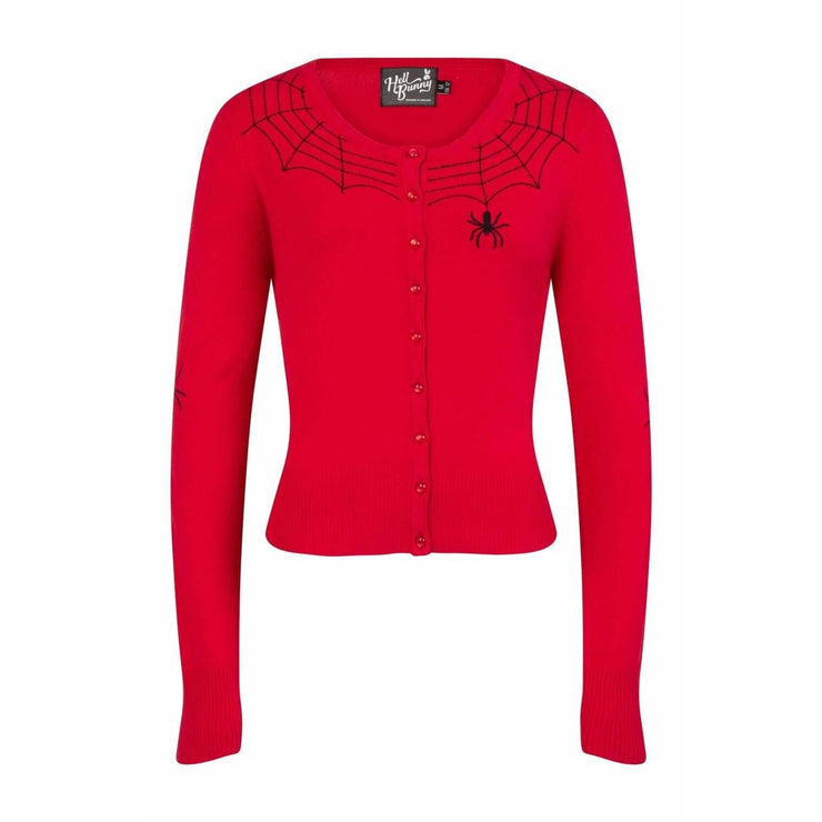 Image of [Special Order] Hell Bunny Spider Cardigan - Red
