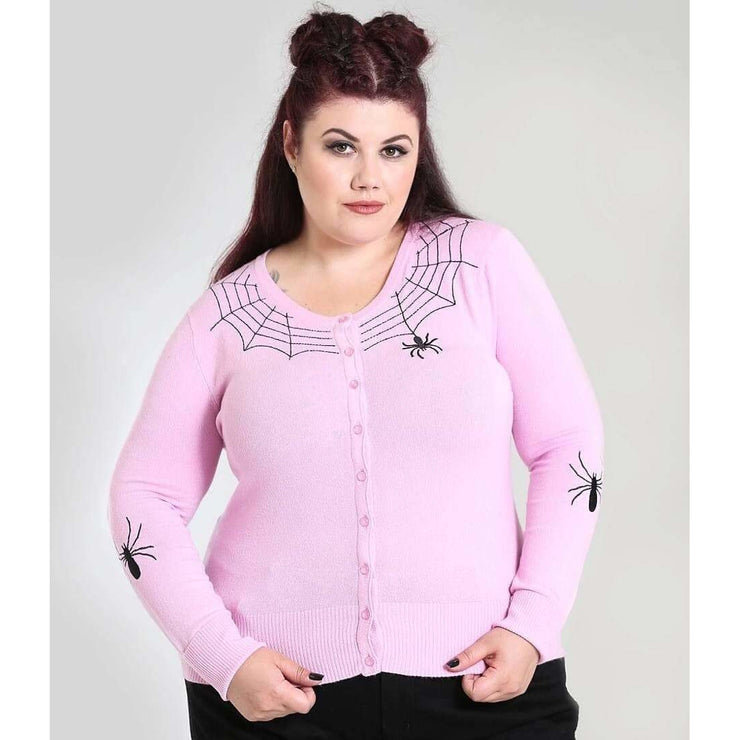 Image of [Special Order] Hell Bunny Spider Cardigan - Pink