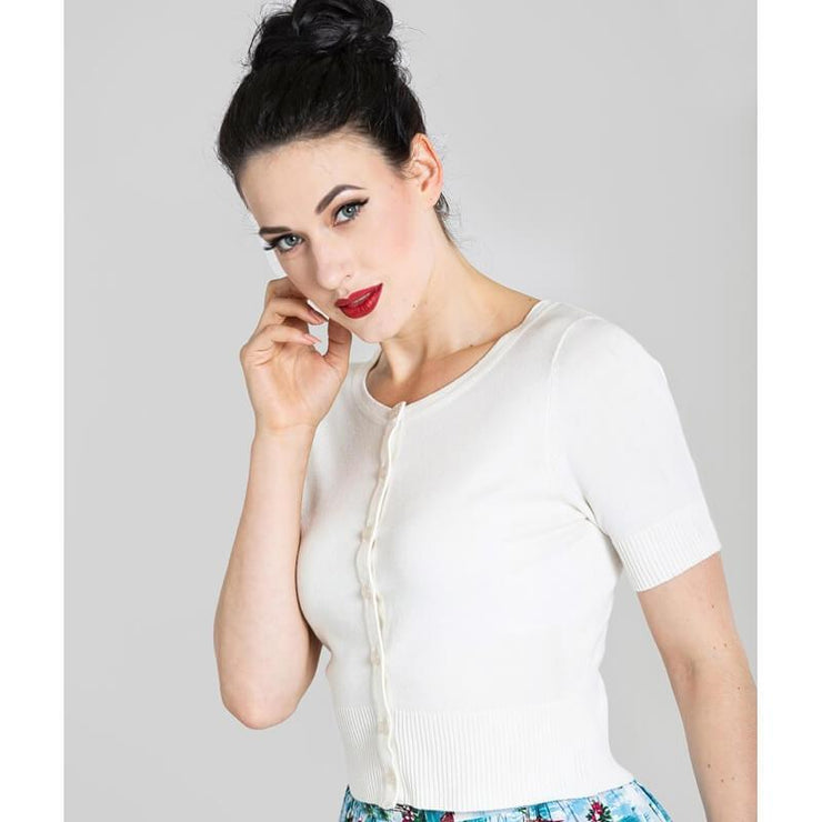 Image of [Special Order] Hell Bunny Wendi Short Sleeved Cardigan - Ivory