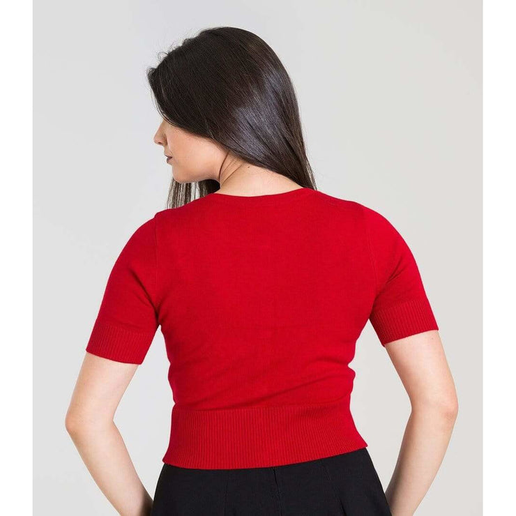 Image of [Special Order] Hell Bunny Wendi Short Sleeved Cardigan - Red
