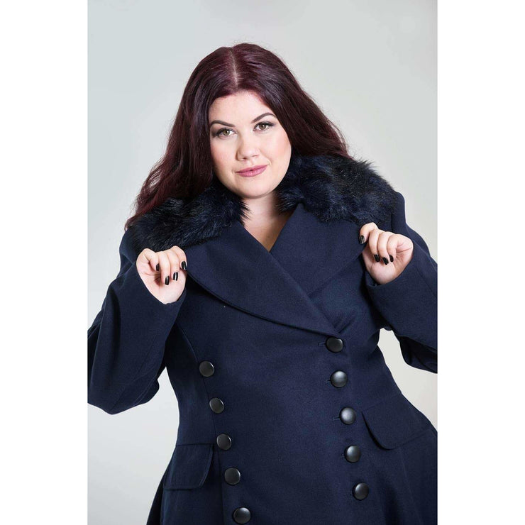 Image of [Special Order] Hell Bunny Milan Coat - Navy Blue