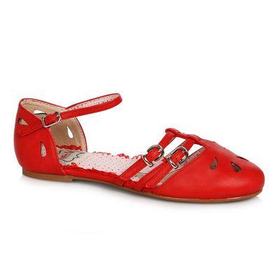 Bettie Page Shoes Polly Flats - Red