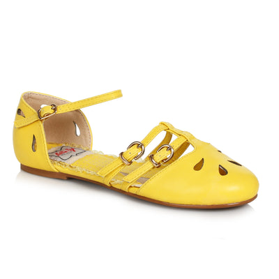 Bettie Page Shoes Polly Flats - Yellow