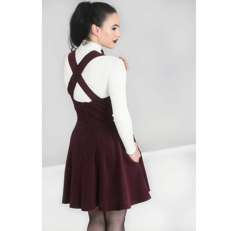 Hell Bunny Wonder Years Pinafore Dress - Burgundy - standard model back